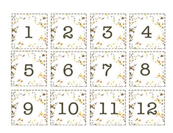 Fall Leaves Calendar Numbers