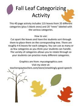 Fall Leaves Categories Activity!
