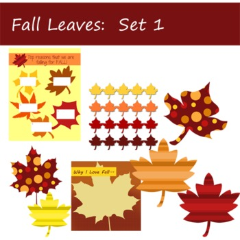 Fall Leaves Clip Art and Papers:  Set 1