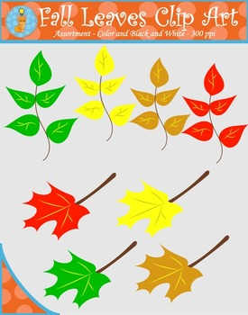 Autumn Fall Leaves Clip Art Collection (Blacklines included)