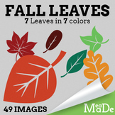 Fall Leaves Clipart - Stamped Style