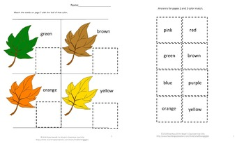 Color Match Activities Cut and Paste Fall Leaves Special Education Sorting