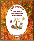 Fall Leaves Color Match Cut and Paste NO PREP Printables Centers