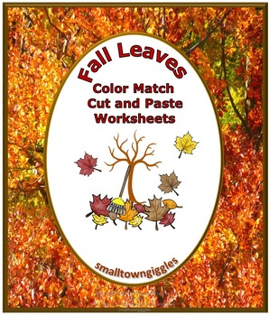 Fall Leaves Color Match Cut and Paste Worksheets P-K, K, S
