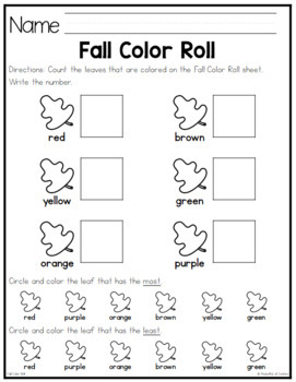 Fall Leaves Color Roll Game