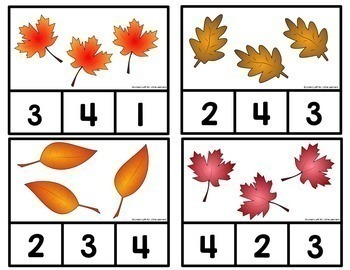 Fall Leaves Counting Clip Cards 1-10