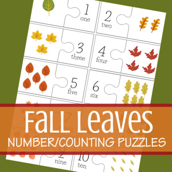Fall/Autumn Leaves Counting/Number Puzzle (Numbers 1 - 10)