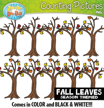 Fall Leaves Counting Pictures Clipart {Zip-A-Dee-Doo-Dah Designs}