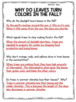 Fall Leaves Informational Reading