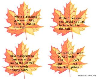 Fall Leaves Language and Math Activity Cards