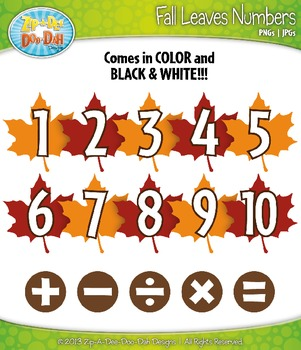 Fall Leaves Math Numbers Clip Art — Over 30 Graphics!