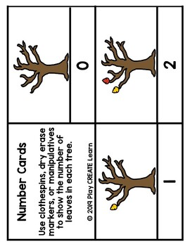 Fall Leaves Number Clip Cards (Math Center/ Activity)