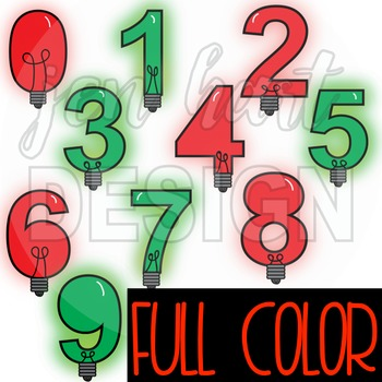 Number Clipart Christmas Lights -NumberLIGHTS