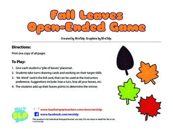 Fall Leaves Open-Ended Card Game
