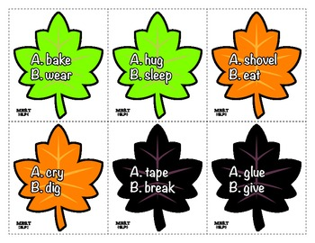 Fall Leaves Past Tense Verbs Game: Speech Therapy