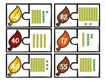 Fall Leaves Place Value Matching Puzzles for Math Centers