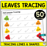 Fall Tracing Lines Worksheets for Preschool : Fall Leaves Theme