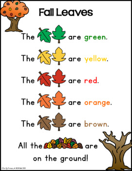Fall Leaves Pocket Chart Poem and Literacy Center