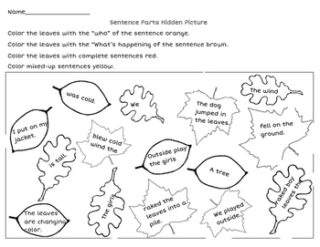 Fall Leaves - Sentence Parts Hidden Picture