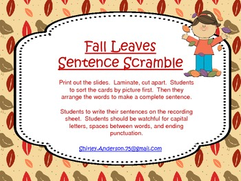 Fall Leaves Sentence Scramble