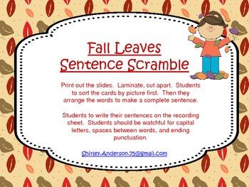 Fall Leaves Sentence Scramble