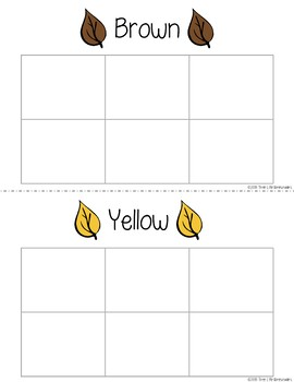 Fall Leaves Sorting Mats and Worksheets