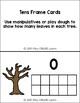 Fall Leaves Study:  Math Tens Frames Cards (Math Center/ Activity)