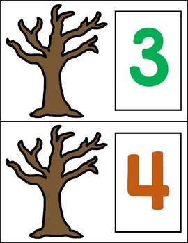 Fall Leaves Study:  Number Counting Mats (Math Center/ Activity)