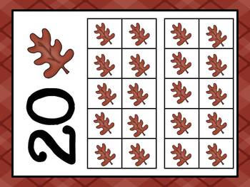 Fall Leaves Ten Frames (#'s 1- 20) ~ 4 Sets - Blank & Completed