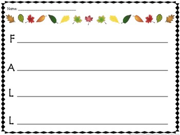 Fall Leaves Themed Acrostic Poems Writing Set