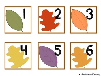 Fall Leaves Themed Calendar Numbers