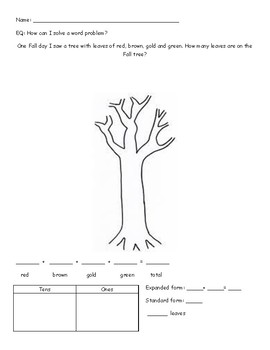 Fall Leaves Word Problem