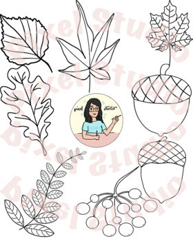Fall Leaves, Acorns, Scarecrow, Pumpkin and Berries Clipart