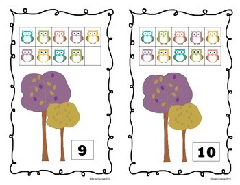 Fall Leaves and Owls 10 Frame Counting Mats (1-10)