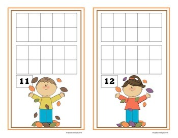 Fall Leaves and Owls 10 Frame Counting Mats (11-20)