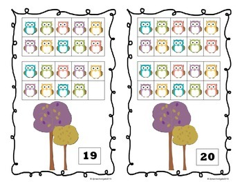 Fall Leaves and Owls 10 Frame Counting Mats Bundle Set (1-20)