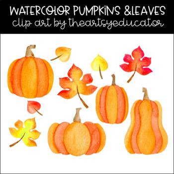 Fall Leaves and Pumpkins Watercolor Clip Art
