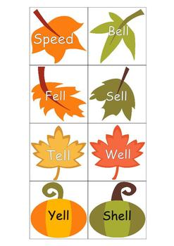 Fall Leaves and Trees Word Family Sort