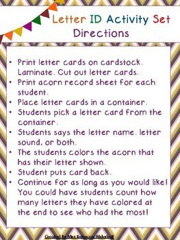Fall Letter Identification Activity Set