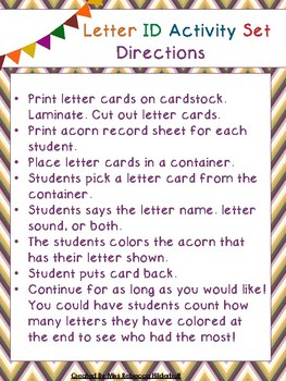 Fall Letter Identification Activity Set