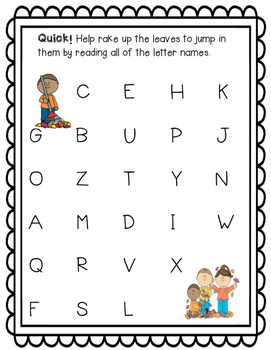 Fall Letter Naming Fluency