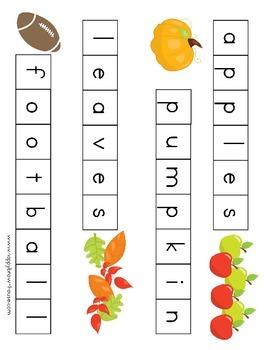 Fall Letter Tiles Spelling Mat