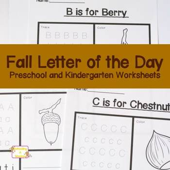 Fall Letter of the Day Preschool Worksheets
