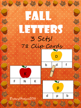 Fall Letters Clip Cards: Uppercase and Lowercase!!