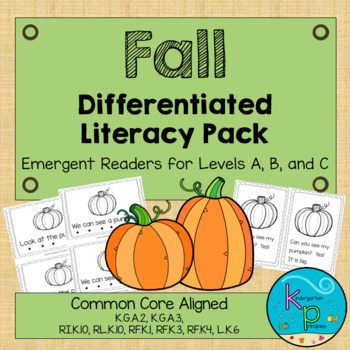 Fall Leveled Literacy Pack - Emergent Readers for Levels A