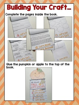 Fall Life Cycles Flip Book- Covers Apple Life Cycle and Pumpkin Life Cycle
