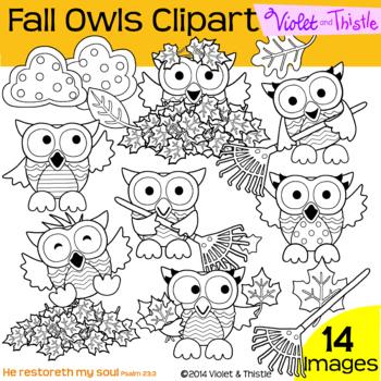 Fall Line Art Fall Owls Line Art Leaves Leaf Pile Raking Leaves Rake Oak Maple