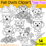 Clipart 2 Dollar Deal Fall Owls Oak Maple Leaf Pile Raking Leaves Rake Clip Art
