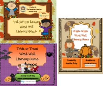 Autumn Literacy Center Board Game Bundle