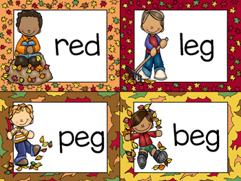 Fall Literacy Center: Building CVC Words with Leaves